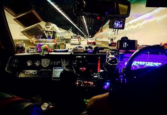 Sensory overload in a taxi, post-12-hour flight from Amsterdam to Hong Kong